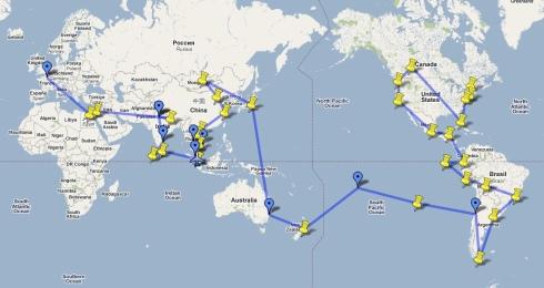 Photo Google Map de mon voyage autour du monde